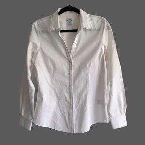 BROOKS BROTHERS Cotton Button Front Shirt White 8